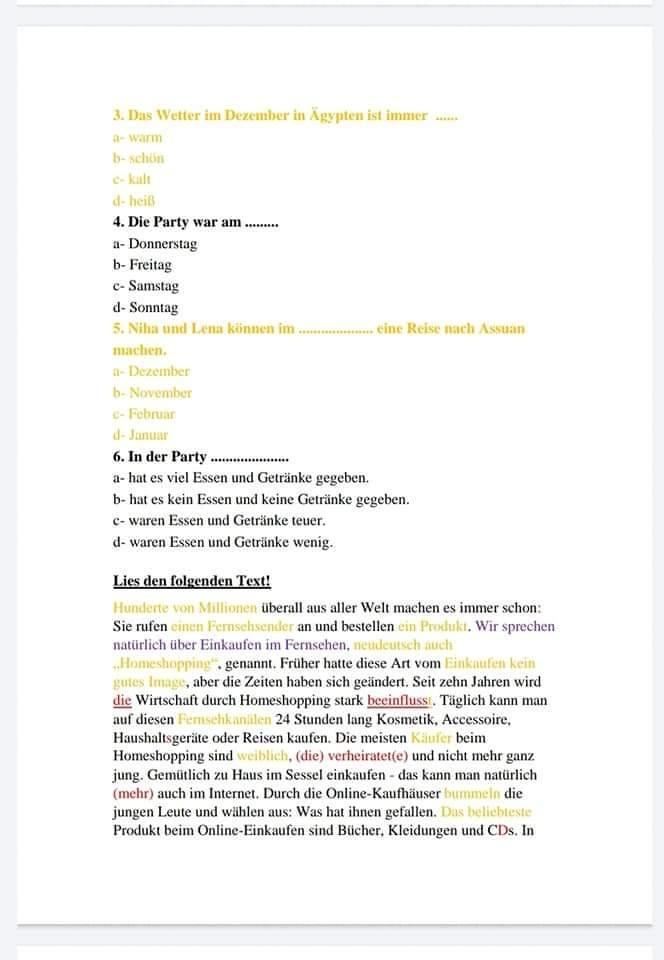 جمعية مدرسي اللغة الألمانية: 30 خطأ فني في امتحان اللغة الالمانية للثانوية العامة والقطعة مستوى A2 3