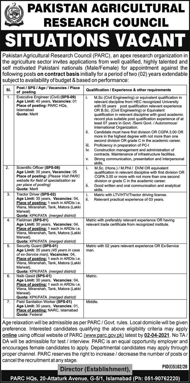 Pakistan Agricultural Research Council PARC Jobs 2021 in Islamabad