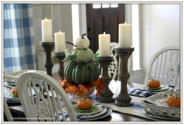Fall Dining Room-French Country-CEnterpiece-Pumpkin Topiary-Buffalo Check-Blue and White-Tablescape-From My Front Porch To Yours
