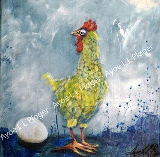 kunst, art, maleri, kunst til væggen,høne,høns,æg,baby,barn,kid,ayoe lise