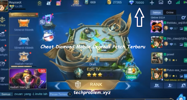 Cheat 70.000 Diamond Mobile Legends Terbaru 2020