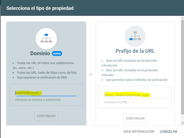 agregar propiedad de dominio en google console