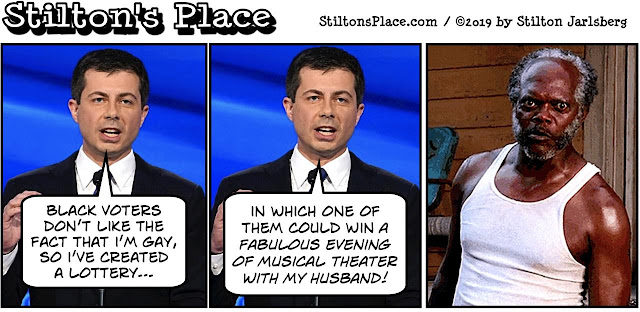 stilton's place, stilton, political, humor, conservative, cartoons, jokes, hope n' change, buttigieg, husband, black voters, theater