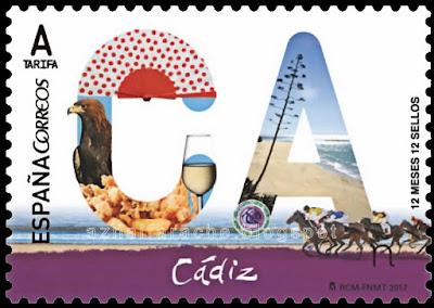 Filatelia - Cádiz - 12 meses, 12 sellos, 12 provincias - Sello emitido el 1 de febrero de 2017