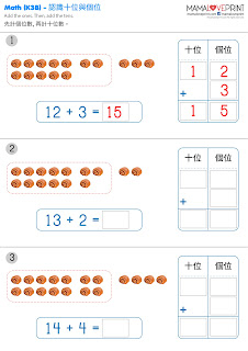 Mama Love Print K3數學工作紙 - 認識十位加個位直式加法工作紙  Learning Tens and Ones (addition) Kindergarten Math Worksheet Free Download