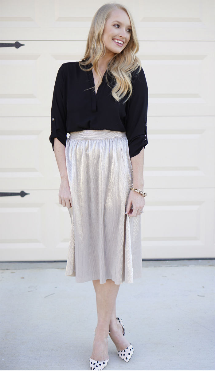 gold midi skirt, target skirt, affordable holiday outfit