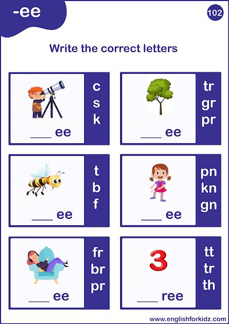 Long E words worksheet - printable ESL resources