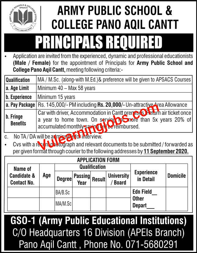 Army Public School & College Jobs 2020 For Principal Latest