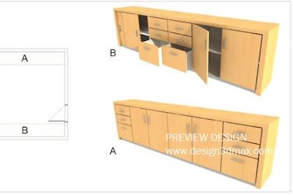 Jasa Design 3dmax furniture credenza murah berkualitas