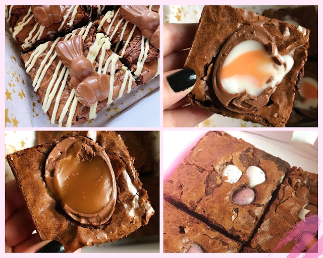 collage - creme egg brownies, caramel egg brownies, malteser bunny brownies, mini egg brownies