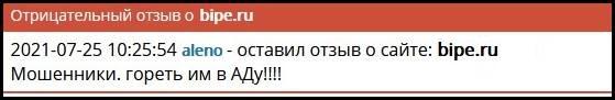Отзывы про сайт bipe.ru магазина: