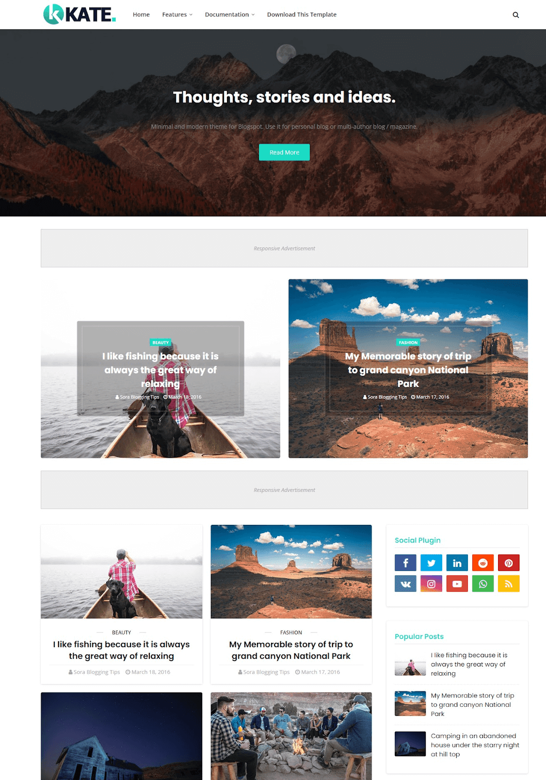 Kate Responsive Blogger Template - Best Free Website Template
