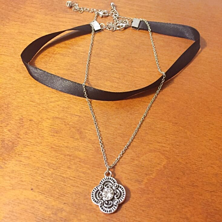 black ribbon and antique silver choker