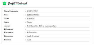Dashboard Profil Madrasah