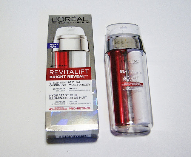 L'Oreal RevitaLift Bright Reveal Brightening Scrub Cleanser, Peel Pads, Overnight Moisturizer, Daily Lotion, Review, Beauty, Skincare, Toronto, Ontario, The Purple Scarf, Melanie.Ps, Ant-Aging