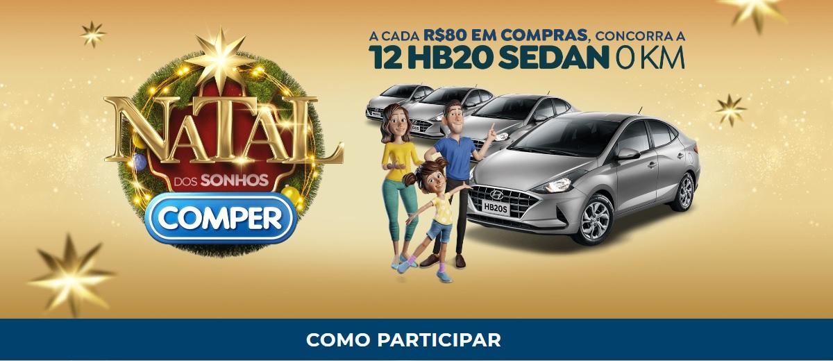 Participar Promoção Natal 2020 Comper 12 HB20 Sedan - Natal dos Sonhos