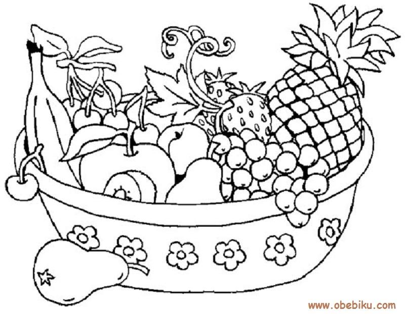 gambar mewarnai buah buahan meja gambar pola di