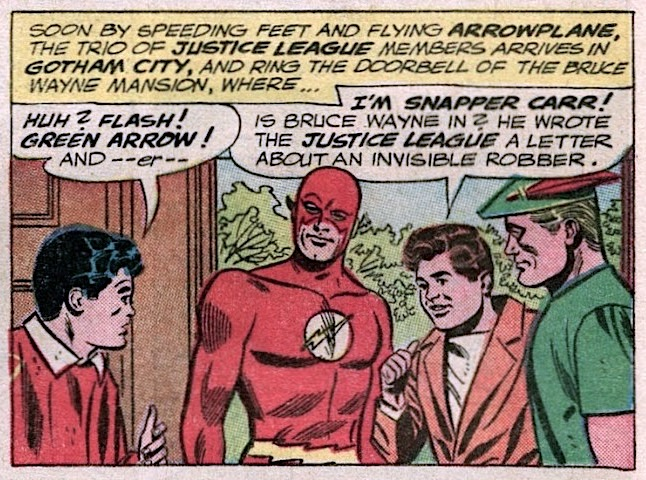 A young man with dark hair facing The Flash and Green Arrow in the doorway of, per caption, 'the Bruce Wayne mansion ... in Gotham City'