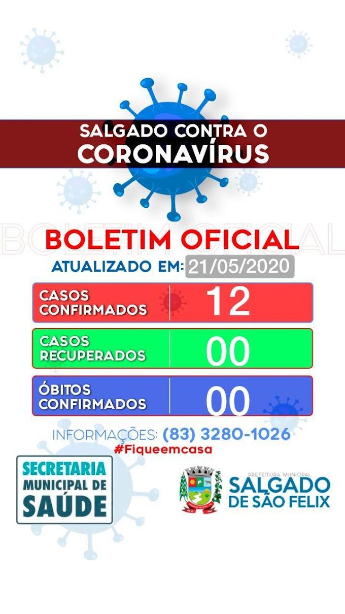 BOLETIM CORONA-VÍRUS (Salgado de São Félix): Fique informado sobre atualizações em sua cidade. (21/05/2020).