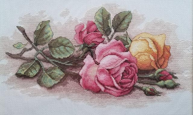 Finished Rose Cuttings Cross Stitch