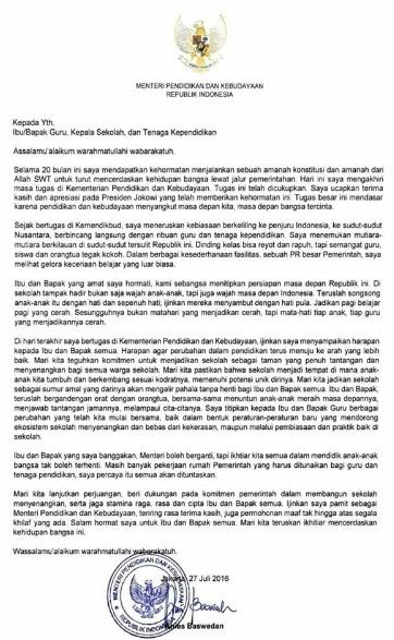 Surat dari Anies Baswedan untuk Guru, Kepala Sekolah, dan Tenaga Kependidikan di Hari Akhir Masa Jabatannya sebagai Mendikbud Tertanggal 27 Juli 2016