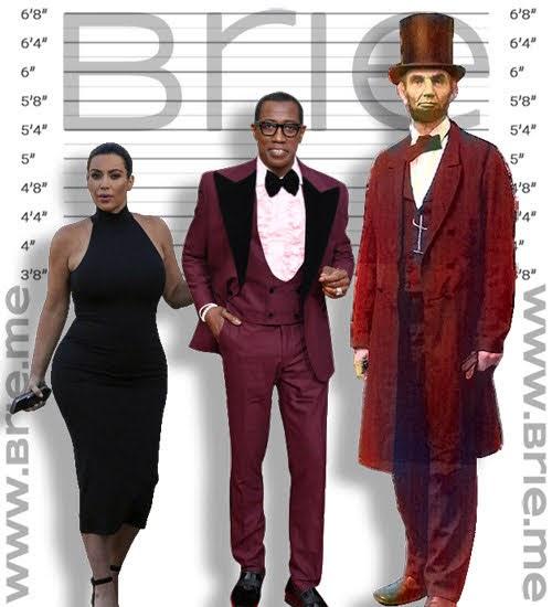 Kim Kardashian, Wesley Snipes, and Abraham Lincoln height comparison