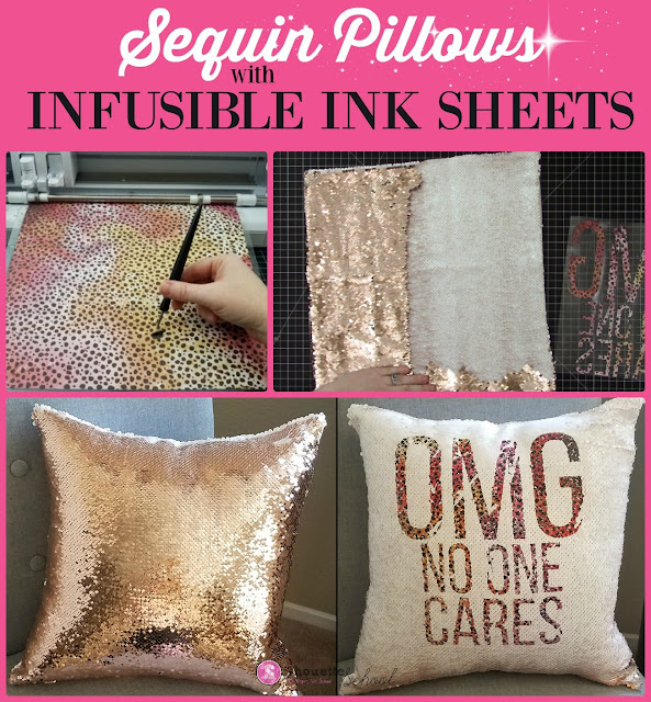 silhouette 101, silhouette america blog, infusible ink, sequin pillows, cricut infusible ink