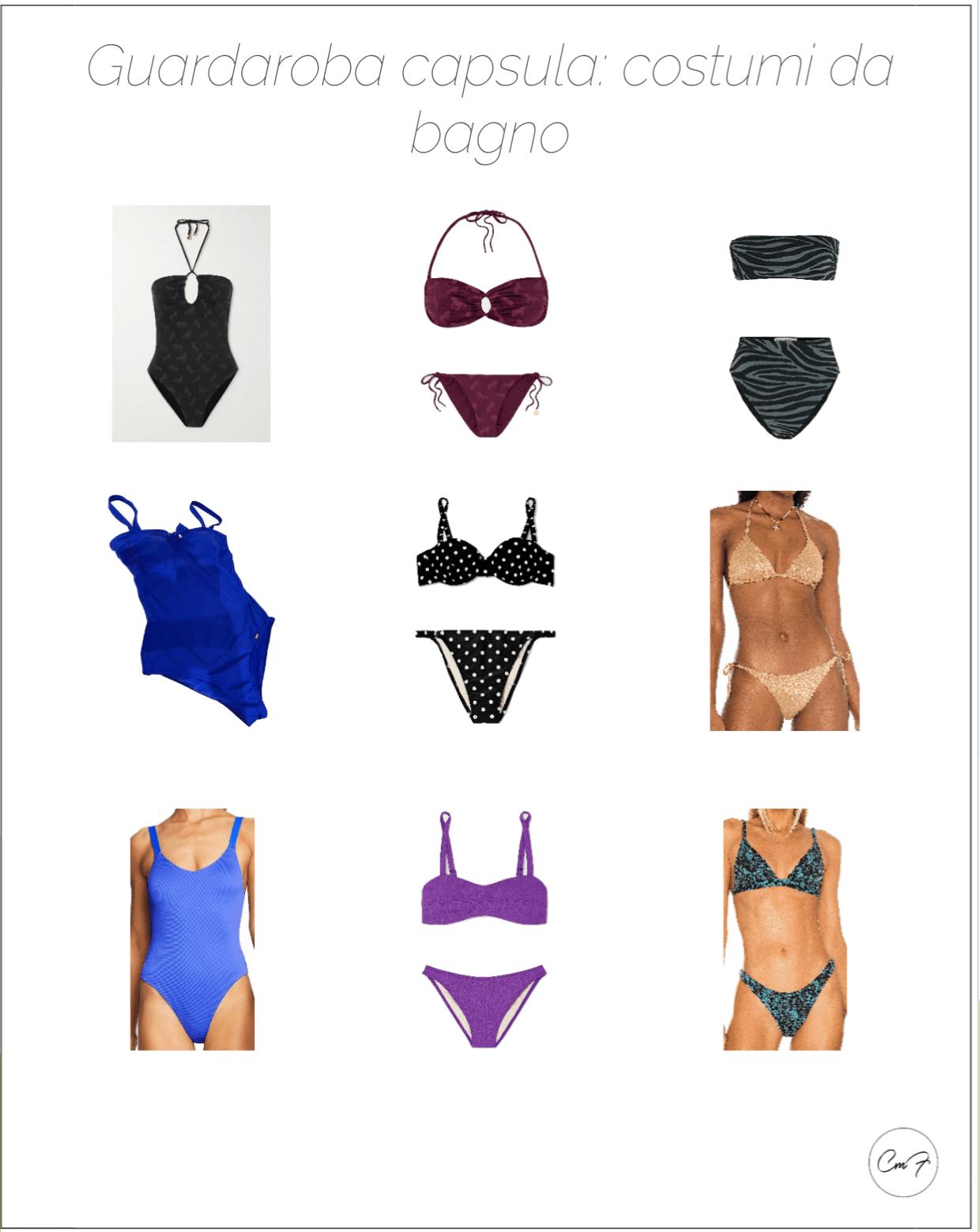 costumi da bagno per il guardaroba capsula, tre costumi interi, tre bikini semplici e tre bikini per occasioni speciali