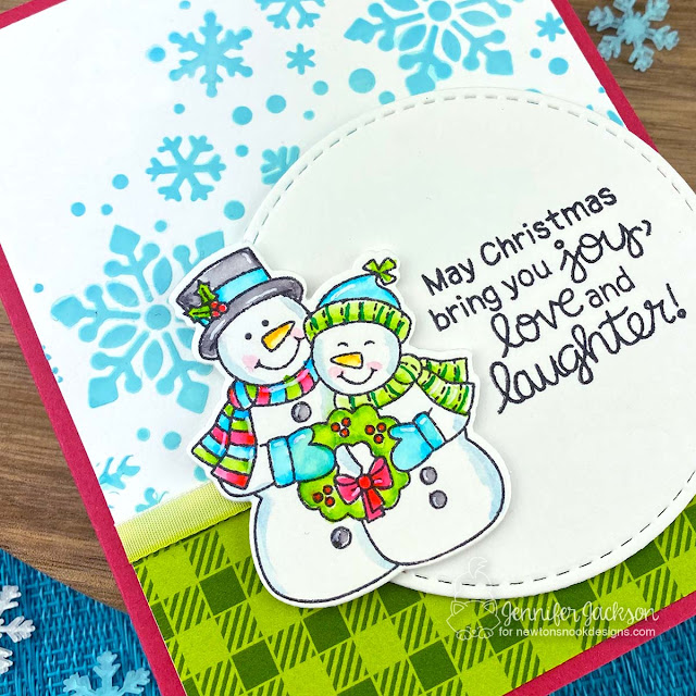 Snowy Couple Christmas Card by Jennifer Jackson | Snow Much Cheer Stamp Set, Meowy Christmas Paper Pad and Snowfall Stencil by Newton's Nook Designs #newtonsnook #handmade