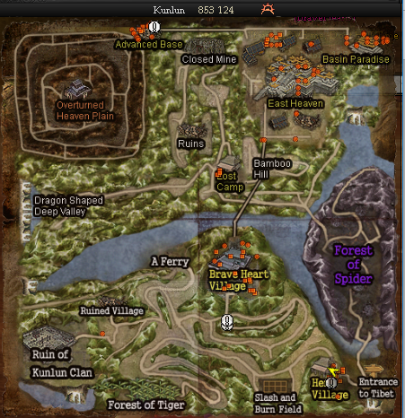 Kunlun is 9th level map in 9Dragons Awaken for white & black clan. For now  , Kunlun is the last map of land. It is a pvp map.