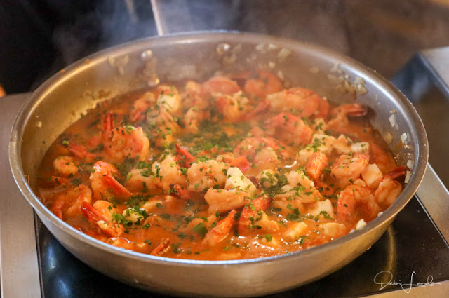The finished pan of Shrimp Saganaki is ready to serve.