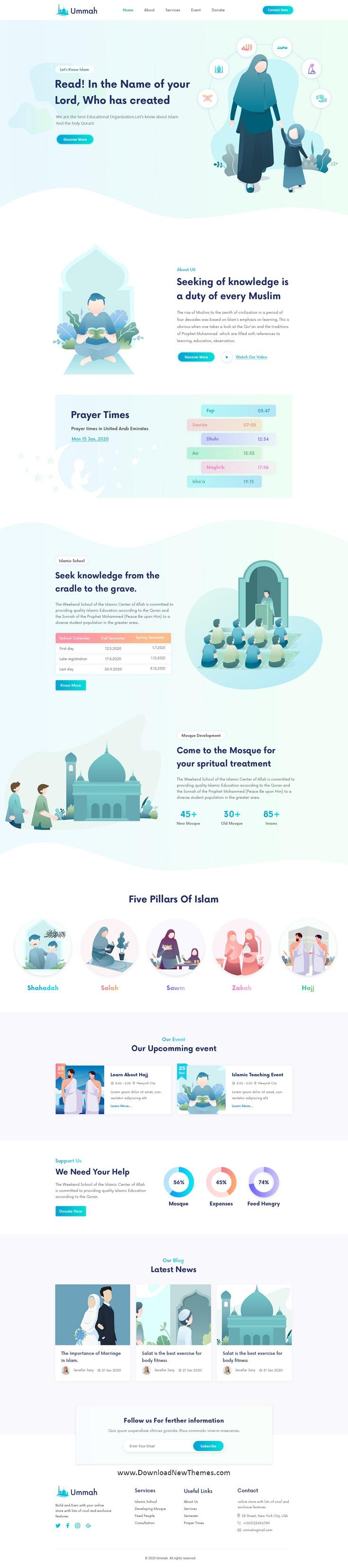 Islamic Institute & Mosque PSD Template