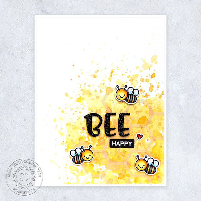 Sunny Studio Stamps: Chloe Alphabet Dies Just Bee-cause Frilly Frame Dies Card by Anja Bytyqi