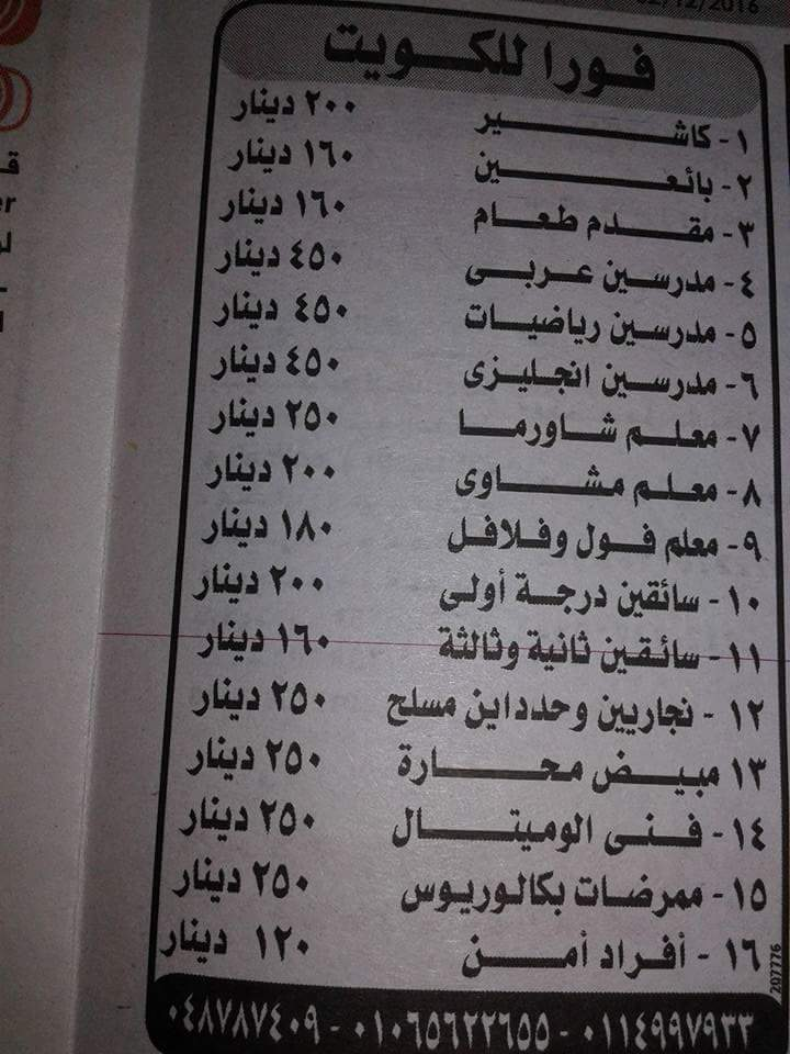 اعلان وظائف لدولة الكويت للمؤهلات المتوسطة والعليا برواتب مميزه تصل 450 دينار كويتى