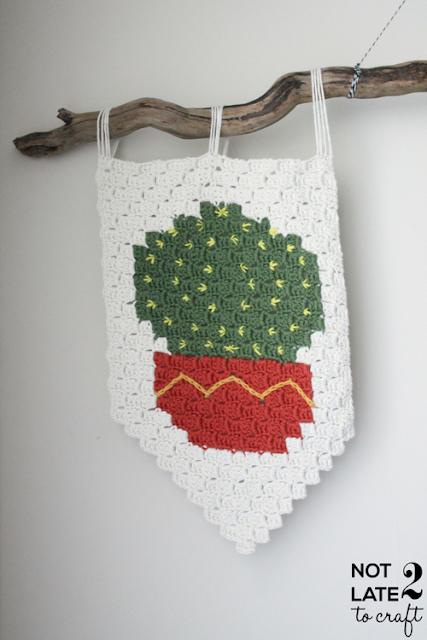 Not 2 late to craft: Banderola cactus de ganxet #2 / C2C crochet cactus banner #2