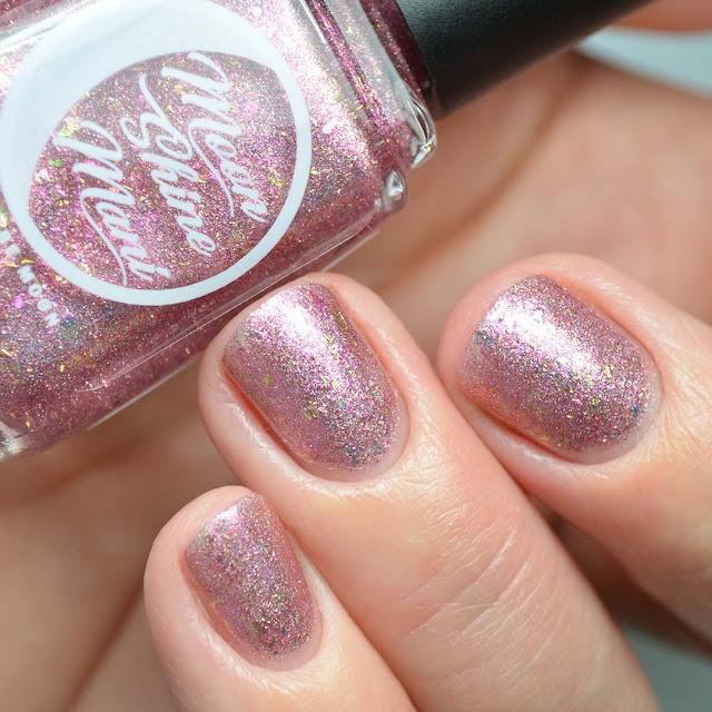 pink flakie nail polish swatch
