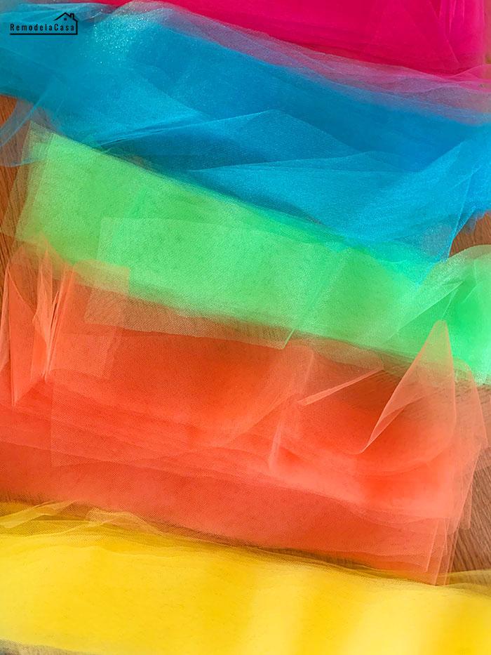 Rainbow tulle fabric for a tutu