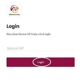 Login Aplikasi Android Alfa Trans Pulsa