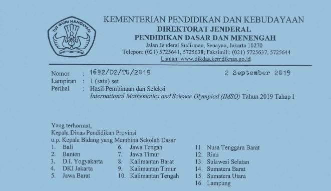 Hasil Pembinaan dan Seleksi IMSOTahun 2019 Tahap I
