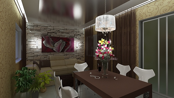 Ruang Makan Unik dengan Dinding Batu Bata