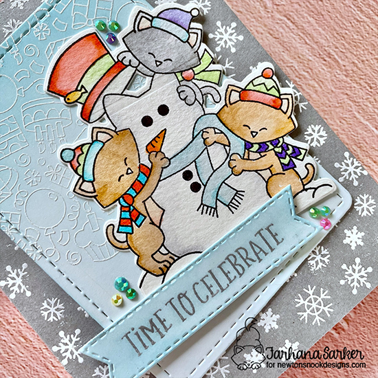A Snowy Celebration Card by Farhana Sarker | Newton's Snowman Stamp Set, Birthday Roundabout Stamp Set & Banner Trio Die Set by Newton's Nook Designs