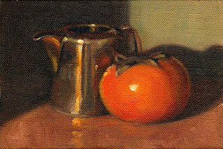 Oil painting of a persimmon beside a small silver-plated jug.