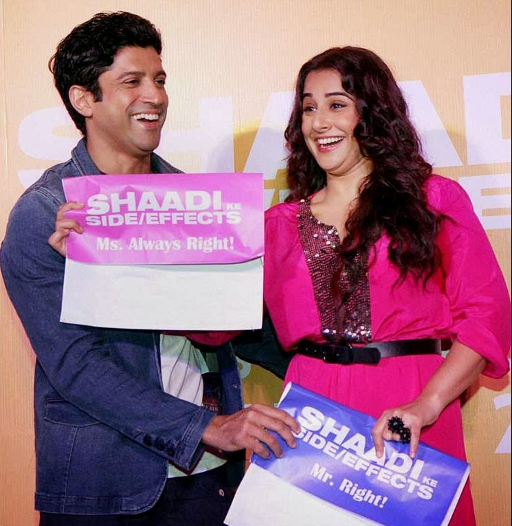 Farhan Akhtar and Vidya Balan promoting Shadi Ke Side Effects movie