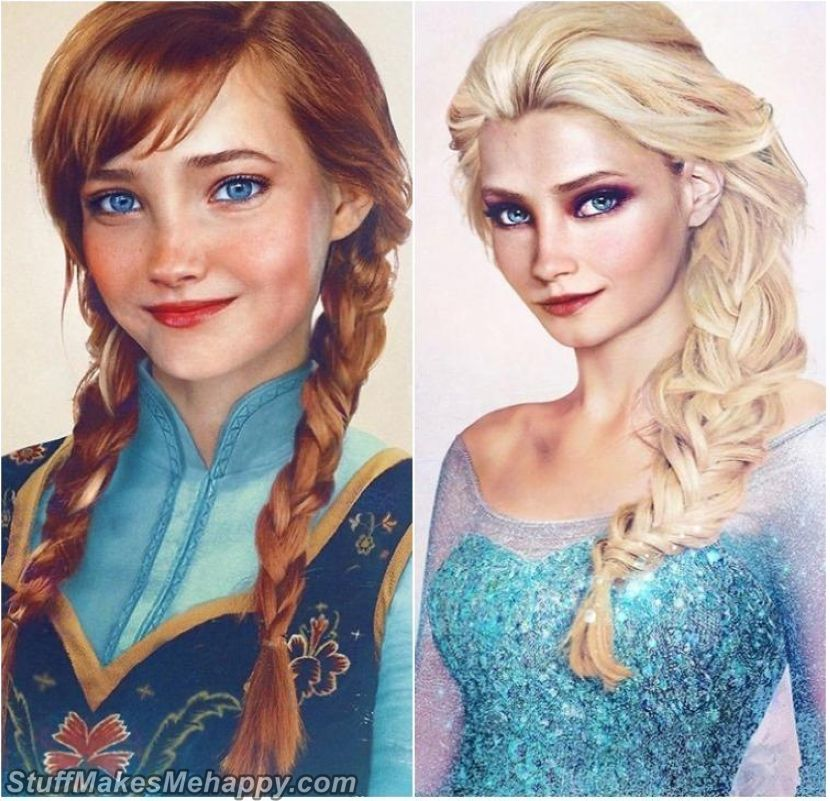 Anna and Elsa from Cold Heart - The Artist Turned Classic Disney Princesses Into Real People, And They Are Beautiful