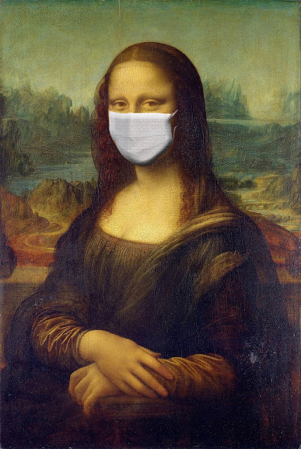 monalisa coronavirus mask painting