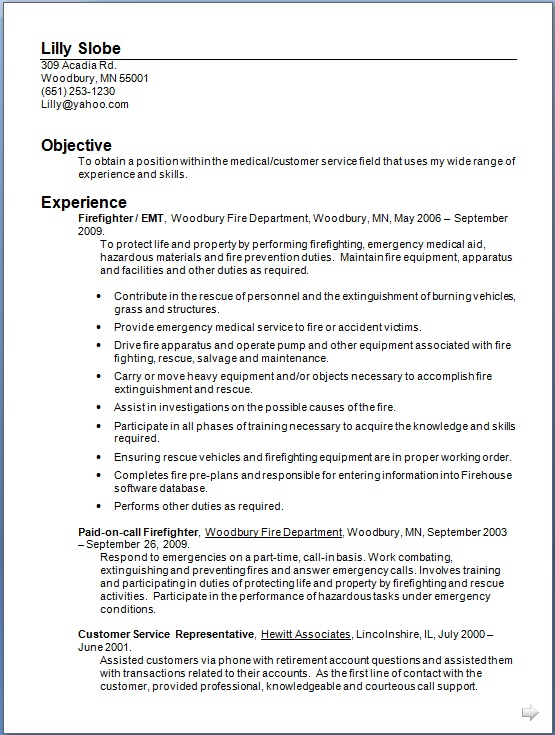 firefighter sample resume format in word free download