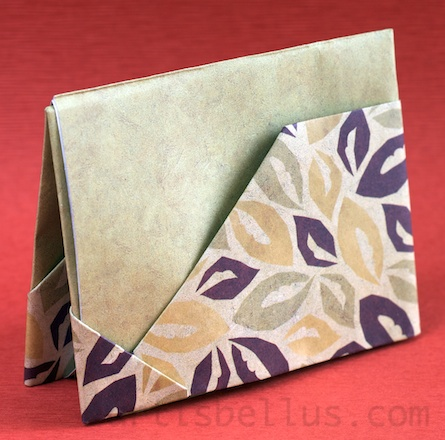 Origami House Shaped Card Stand Instructions | Origami cards ... | 440x445