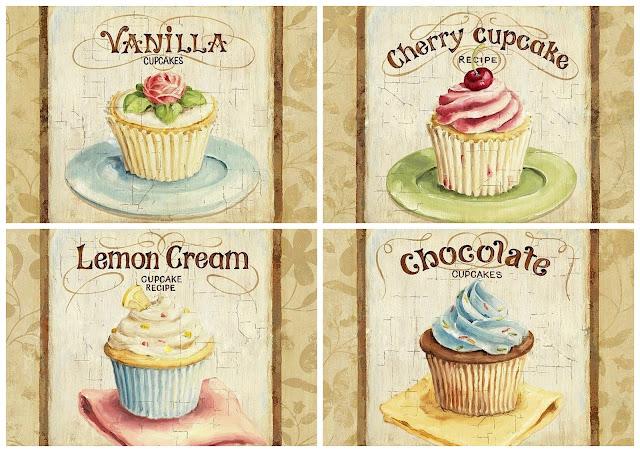 Carteles Retro con Cupcakes.