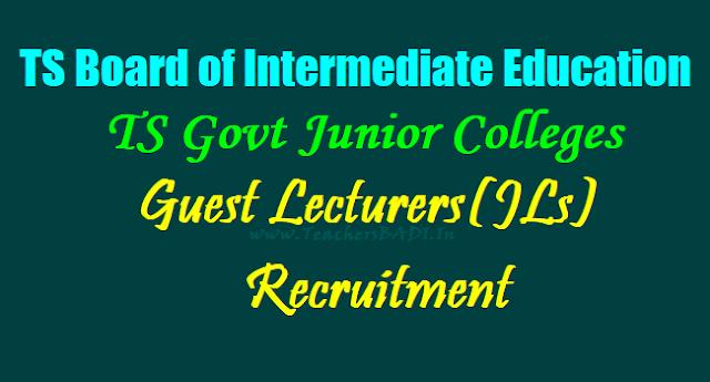 TS Govt Junior Colleges Guest Lecturers(JLs) Recruitment 2019,JLs Recruitment,Results,application form