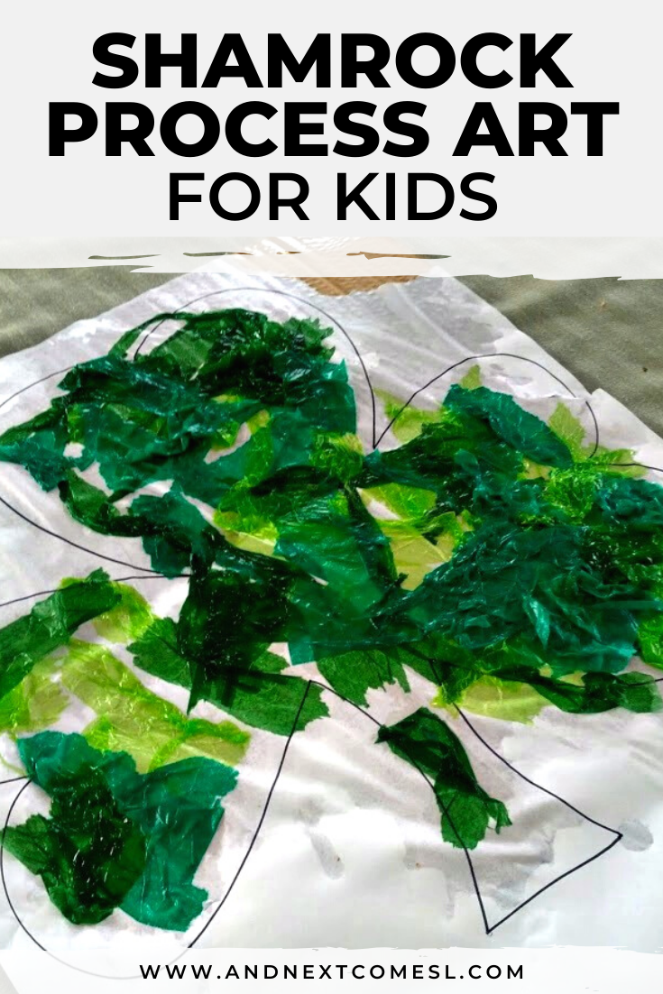 Easy shamrock bleeding tissue paper art project for kids of all ages - even toddlers and preschoolers can handle this process art idea!